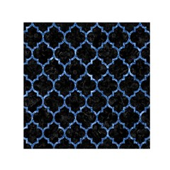 Tile1 Black Marble & Blue Marble (r) Small Satin Scarf (square)
