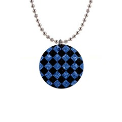 Square2 Black Marble & Blue Marble 1  Button Necklace