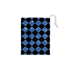 Square2 Black Marble & Blue Marble Drawstring Pouch (xs)
