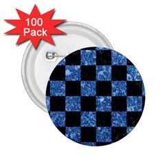 Square1 Black Marble & Blue Marble 2 25  Button (100 Pack)