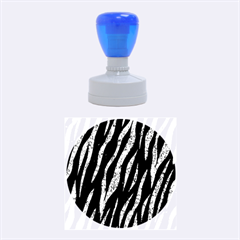 Skin3 Black Marble & Blue Marble (r) Rubber Stamp Round (medium)