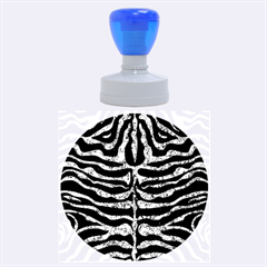 Skin2 Black Marble & Blue Marble (r) Rubber Stamp Round (large)