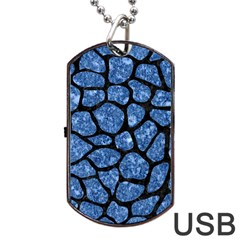Skin1 Black Marble & Blue Marble (r) Dog Tag Usb Flash (one Side)