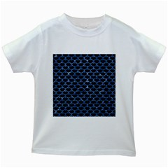 Scales3 Black Marble & Blue Marble (r) Kids White T Shirt