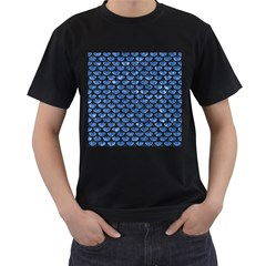 Scales3 Black Marble & Blue Marble Men s T Shirt (black) (two Sided)