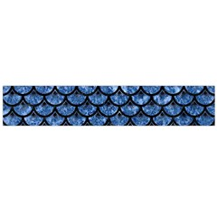 Scales3 Black Marble & Blue Marble Flano Scarf (large)
