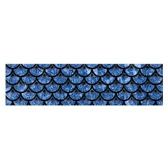 Scales3 Black Marble & Blue Marble Satin Scarf (oblong)