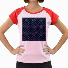 Scales2 Black Marble & Blue Marble (r) Women s Cap Sleeve T Shirt