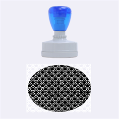 Scales2 Black Marble & Blue Marble (r) Rubber Stamp Oval