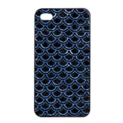 Scales2 Black Marble & Blue Marble (r) Apple Iphone 4/4s Seamless Case (black)
