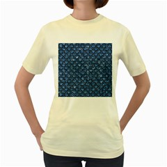 Scales2 Black Marble & Blue Marble Women s Yellow T Shirt