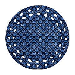 Scales2 Black Marble & Blue Marble Round Filigree Ornament (two Sides)