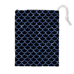 Scales1 Black Marble & Blue Marble (r) Drawstring Pouch (xl)