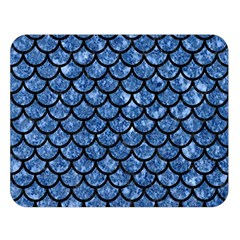 Scales1 Black Marble & Blue Marble Double Sided Flano Blanket (large)