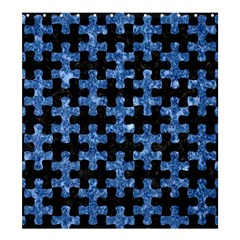 Puzzle1 Black Marble & Blue Marble Shower Curtain 66  X 72  (large)