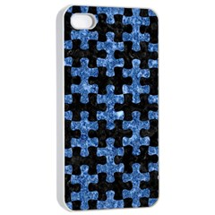 Puzzle1 Black Marble & Blue Marble Apple Iphone 4/4s Seamless Case (white)