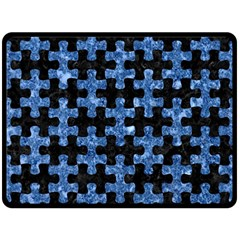 Puzzle1 Black Marble & Blue Marble Double Sided Fleece Blanket (large)
