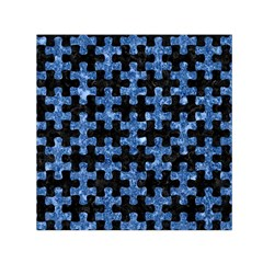 Puzzle1 Black Marble & Blue Marble Small Satin Scarf (square)