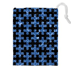 Puzzle1 Black Marble & Blue Marble Drawstring Pouch (xxl)