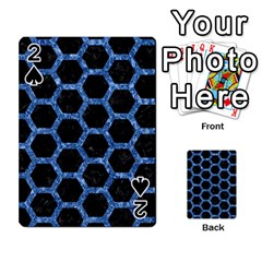 Hexagon2 Black Marble & Blue Marble (r) Playing Cards 54 Designs