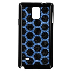 Hexagon2 Black Marble & Blue Marble (r) Samsung Galaxy Note 4 Case (black)