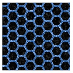 Hexagon2 Black Marble & Blue Marble (r) Large Satin Scarf (square)