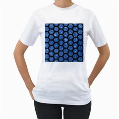 Hexagon2 Black Marble & Blue Marble Women s T Shirt (white) (two Sided)