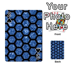Hexagon2 Black Marble & Blue Marble Playing Cards 54 Designs