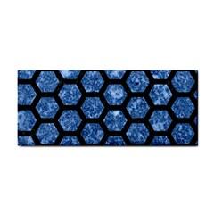 Hexagon2 Black Marble & Blue Marble Hand Towel