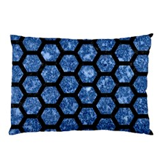 Hexagon2 Black Marble & Blue Marble Pillow Case