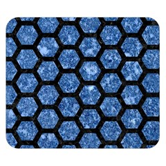 Hexagon2 Black Marble & Blue Marble Double Sided Flano Blanket (small)
