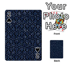 Hexagon1 Black Marble & Blue Marble (r) Playing Cards 54 Designs