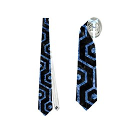 Hexagon1 Black Marble & Blue Marble (r) Necktie (two Side)