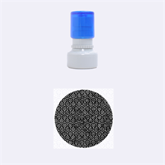 Hexagon1 Black Marble & Blue Marble (r) Rubber Stamp Round (small)
