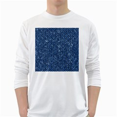 Hexagon1 Black Marble & Blue Marble Long Sleeve T Shirt