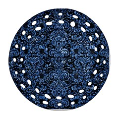 Damask2 Black Marble & Blue Marble (r) Round Filigree Ornament (two Sides)