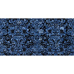 Damask2 Black Marble & Blue Marble (r) You Are Invited 3d Greeting Card (8x4)