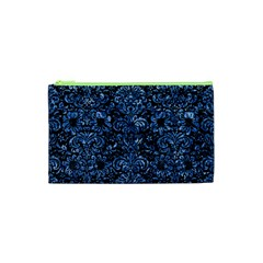 Damask2 Black Marble & Blue Marble (r) Cosmetic Bag (xs)