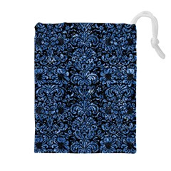 Damask2 Black Marble & Blue Marble (r) Drawstring Pouch (xl)
