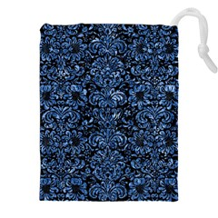 Damask2 Black Marble & Blue Marble (r) Drawstring Pouch (xxl)