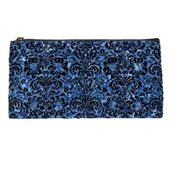 Damask2 Black Marble & Blue Marble Pencil Case