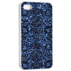 Damask2 Black Marble & Blue Marble Apple Iphone 4/4s Seamless Case (white)