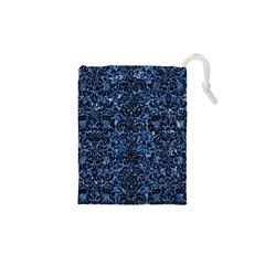 Damask2 Black Marble & Blue Marble Drawstring Pouch (xs)