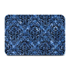 Damask1 Black Marble & Blue Marble (r) Plate Mat