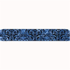 Damask1 Black Marble & Blue Marble (r) Small Bar Mat