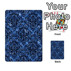 Damask1 Black Marble & Blue Marble (r) Multi Purpose Cards (rectangle)