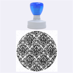 Damask1 Black Marble & Blue Marble (r) Rubber Stamp Round (large)