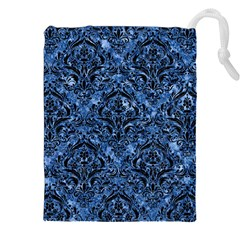 Damask1 Black Marble & Blue Marble (r) Drawstring Pouch (xxl)