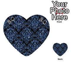 Damask1 Black Marble & Blue Marble Playing Cards 54 (heart)