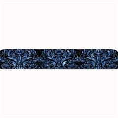 Damask1 Black Marble & Blue Marble Small Bar Mat